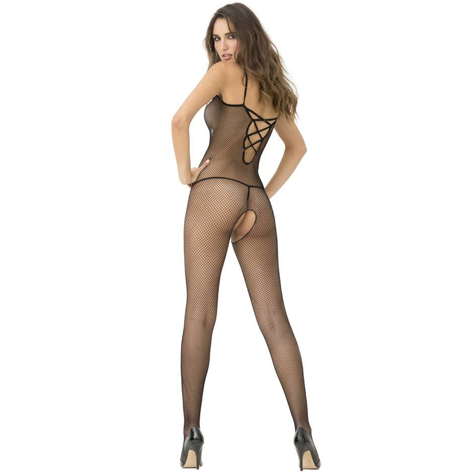 Rene Rofe Black Criss-Cross Strap Crotchless Fishnet Bodystocking