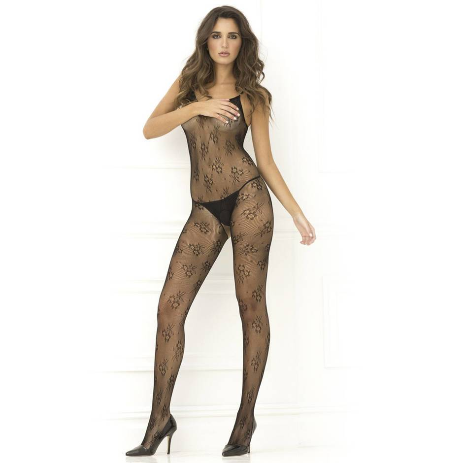 Rene Rofe Floral Lace Crotchless Bodystocking