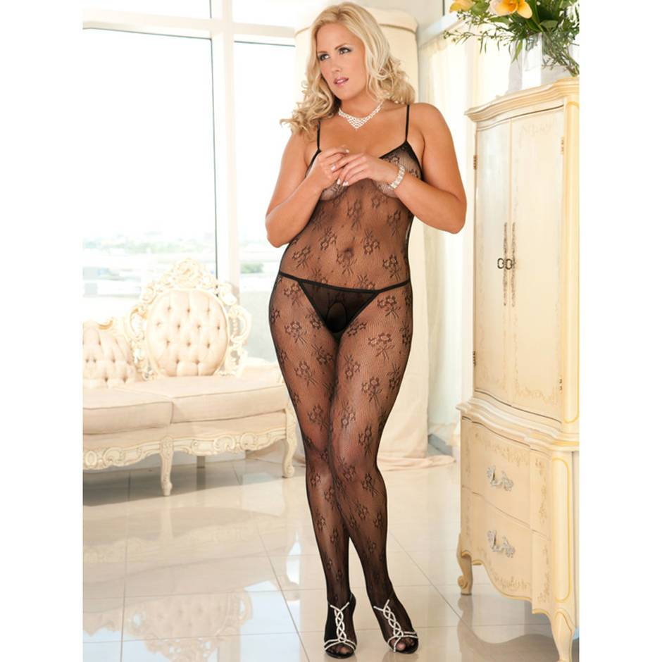 Rene Rofe Plus Size Floral Lace Crotchless Bodystocking
