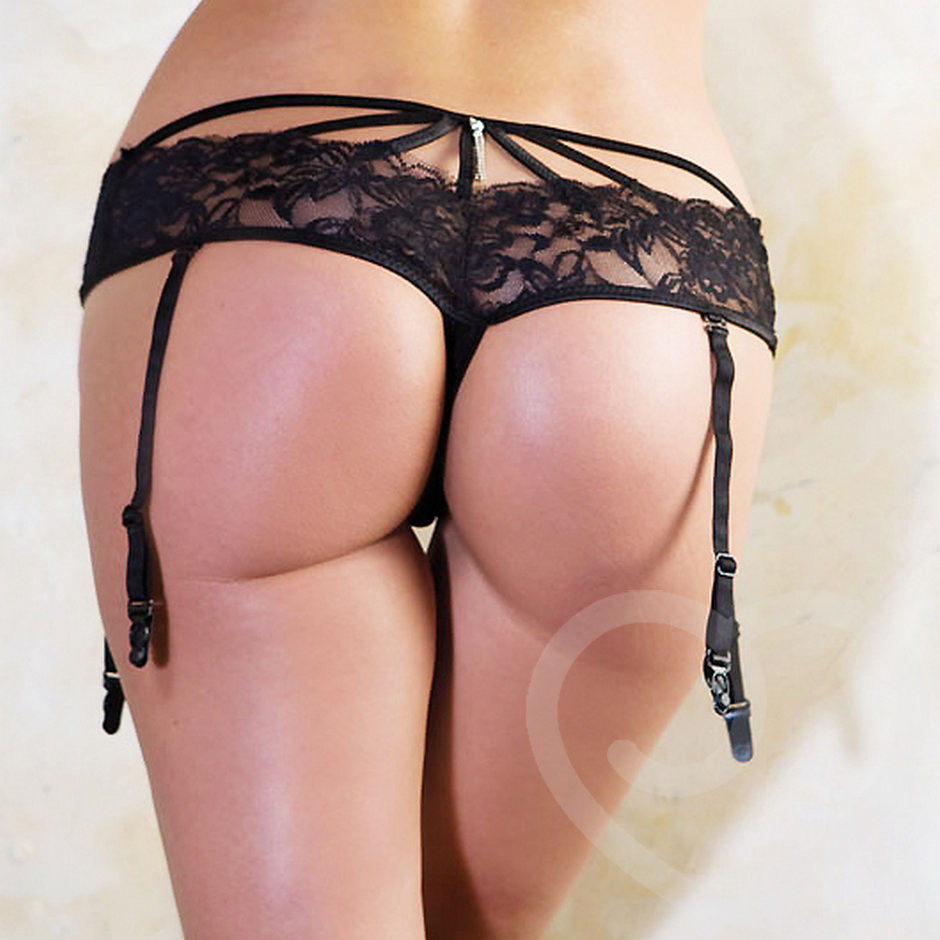 iCollection Lace Garter Thong with Rhinestone Detailing and Strappy Back Accent