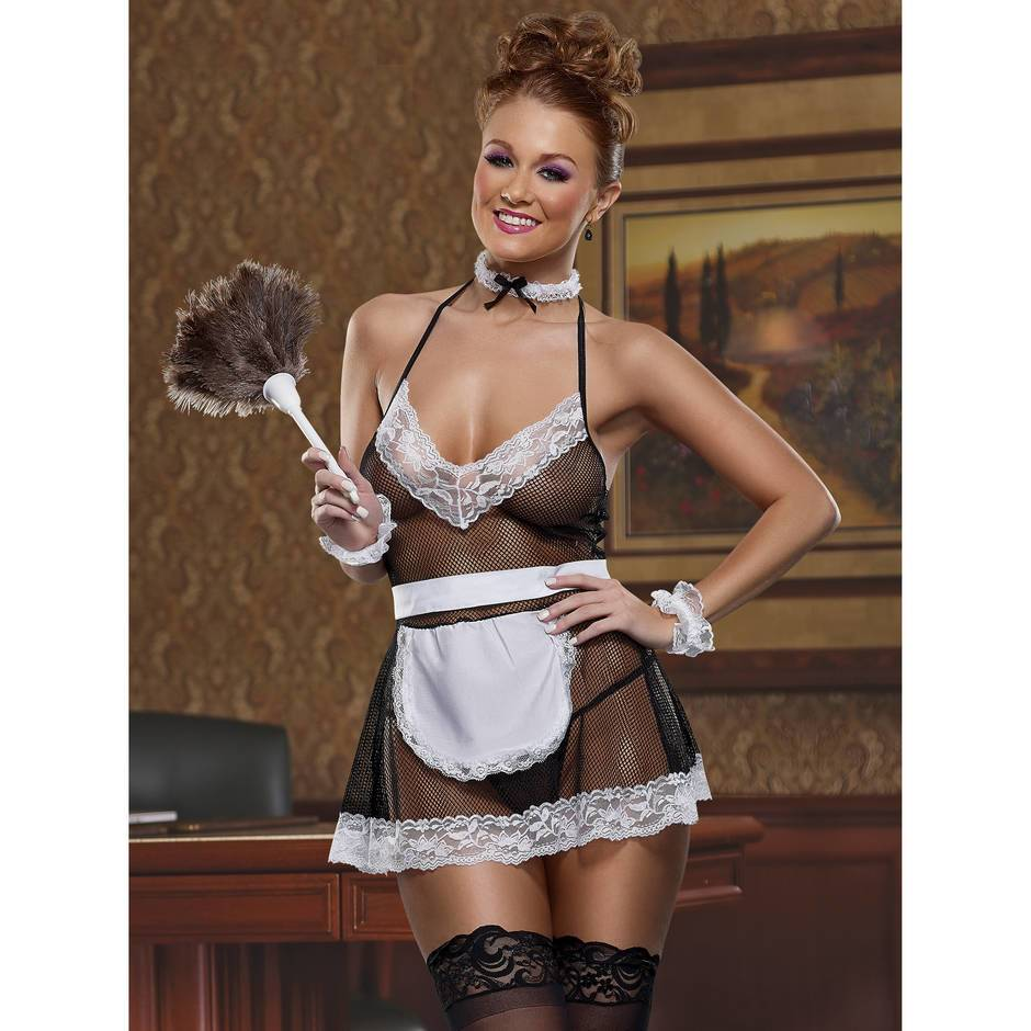 Exposed Cheap Thrills Fishnet and Lace French Maid Costume