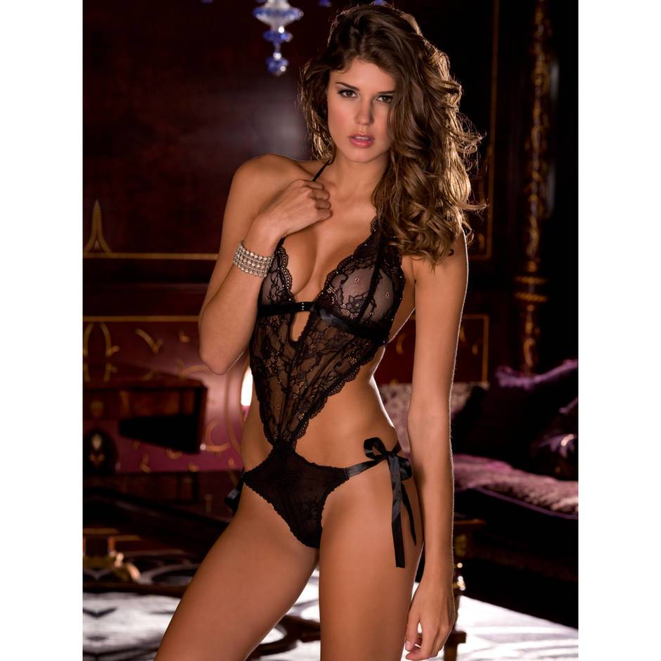 Rene Rofe Open Back Lace Teddy with Ribbon Ties