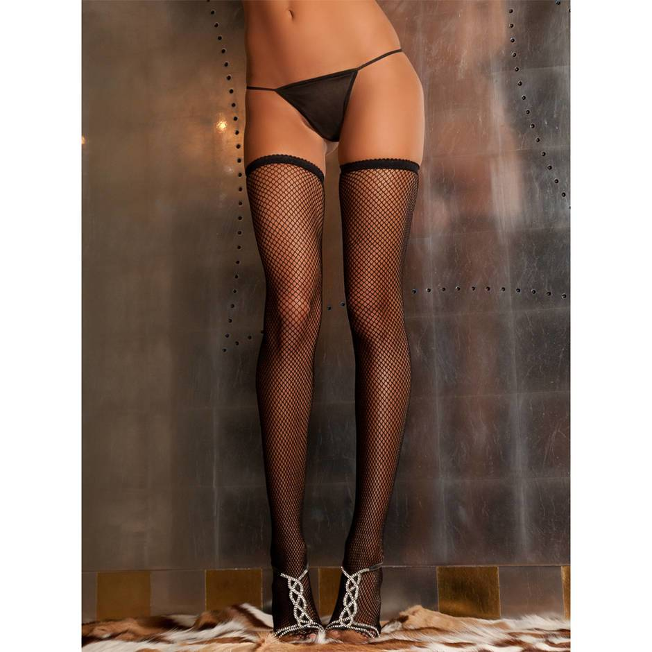 Rene Rofe Thigh High Fishnet Suspender Stockings
