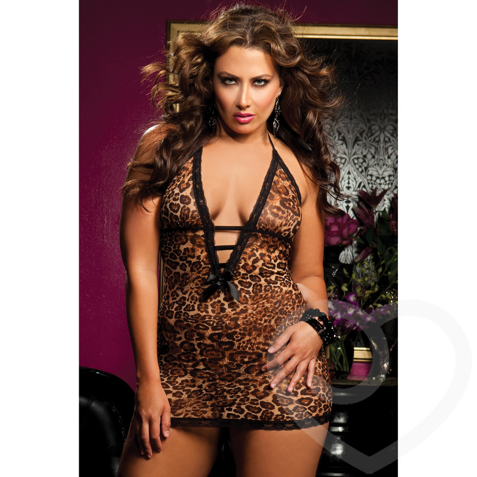 Seven Til Midnight Plus Size Leopard Print Mesh Chemise and G-String