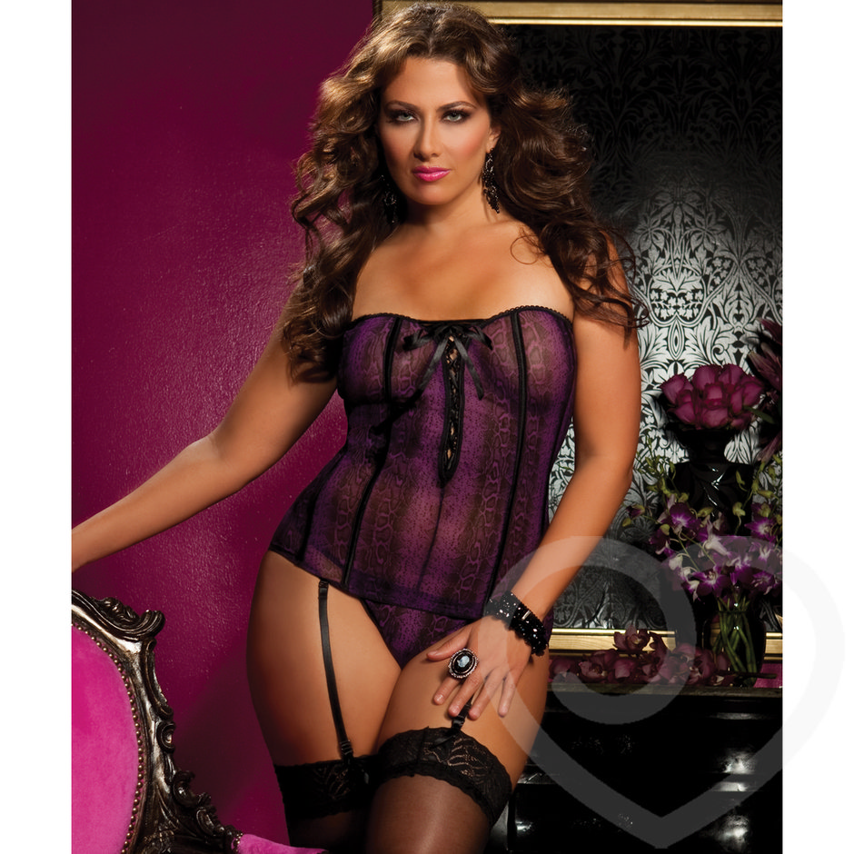 Seven Til Midnight Plus Size Snakeprint Mesh Strapless Camisole and Thong Set