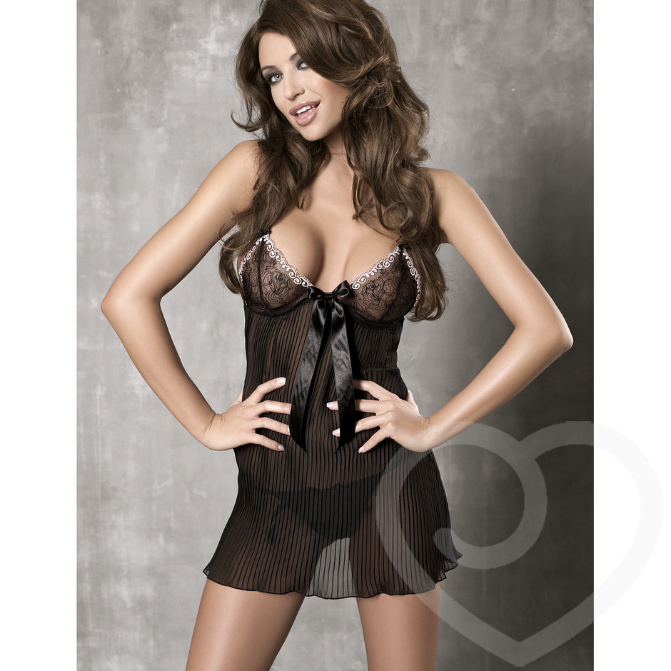 Anais Charming Sheer Pleated Open Back Babydoll
