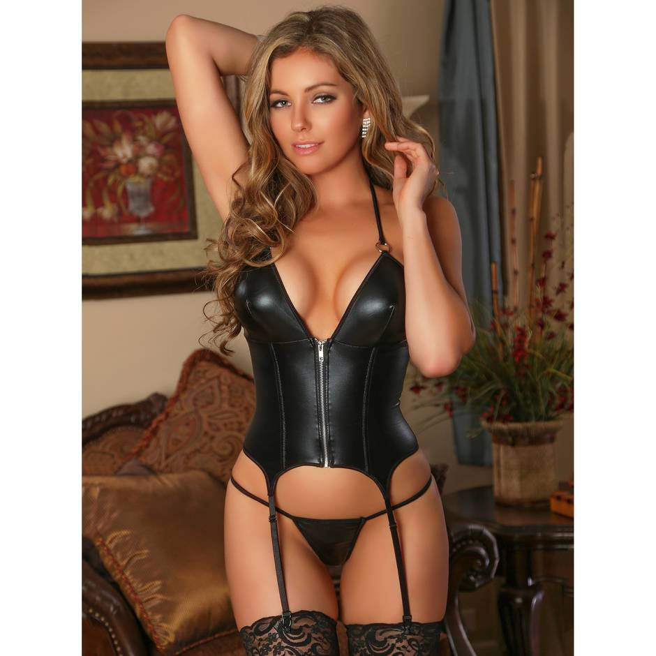 Exposed Liquid Onyx Merry Widow Wet Look Bustier and G-String