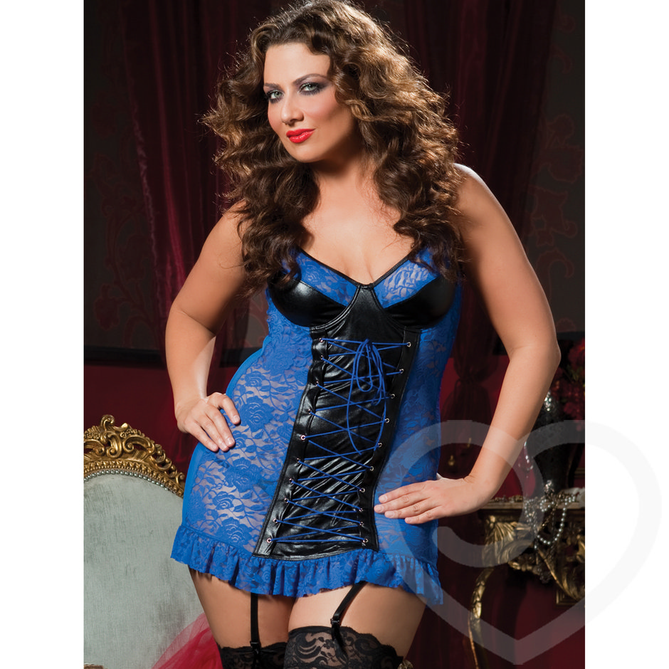 Seven Til Midnight Plus Size Lace and Wet Look Babydoll Set