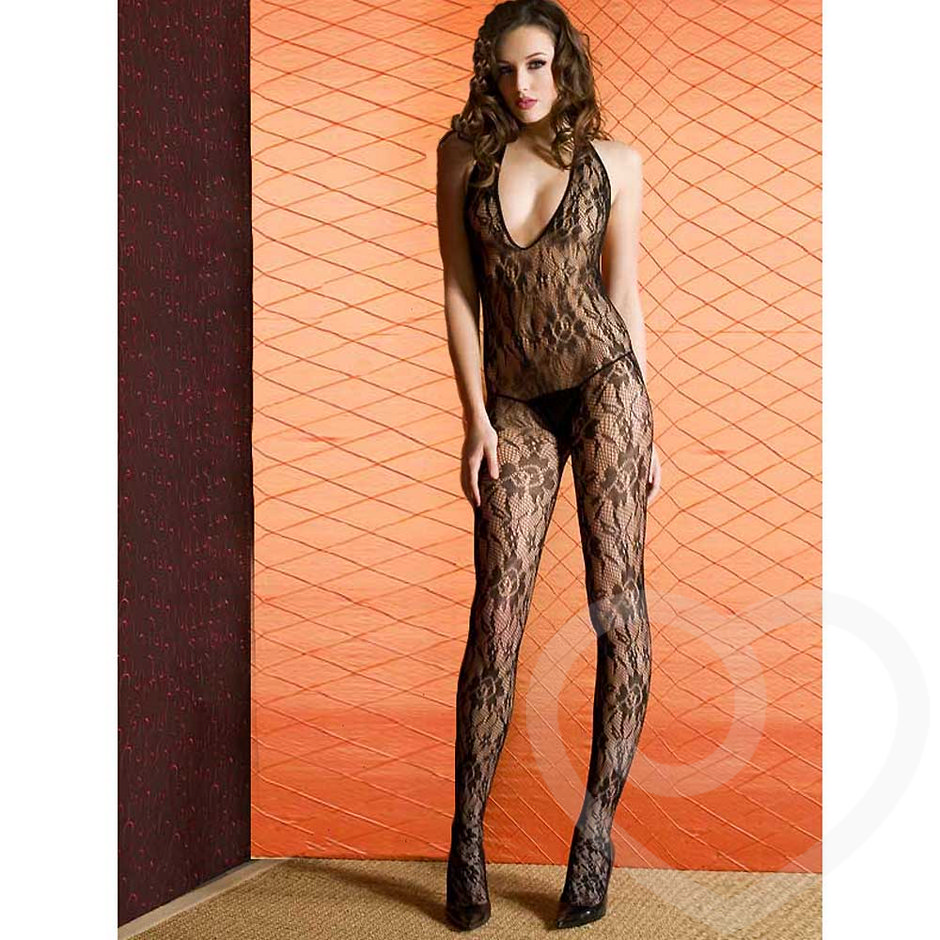 Music Legs Crotchless Lace Halter Bodystocking