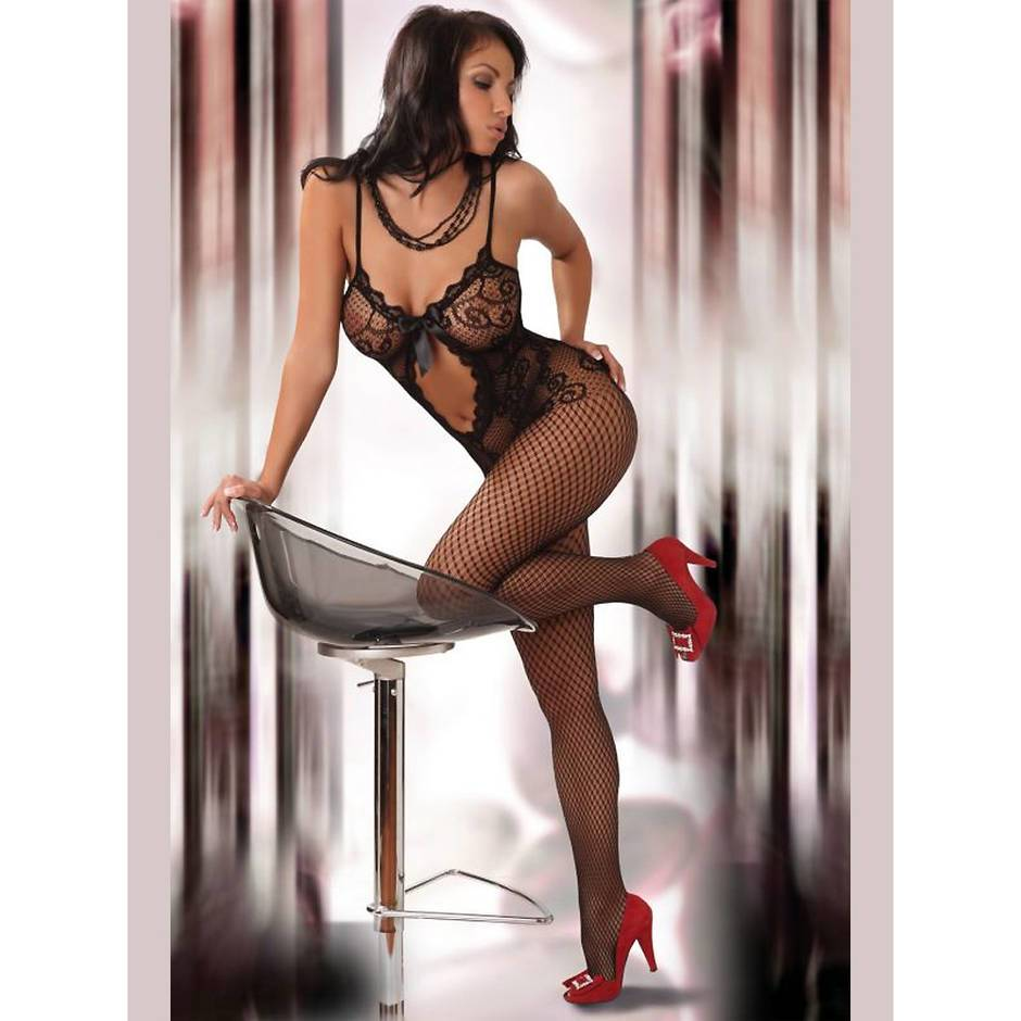 Livia Corsetti Magali Lace and Fishnet Bodystocking