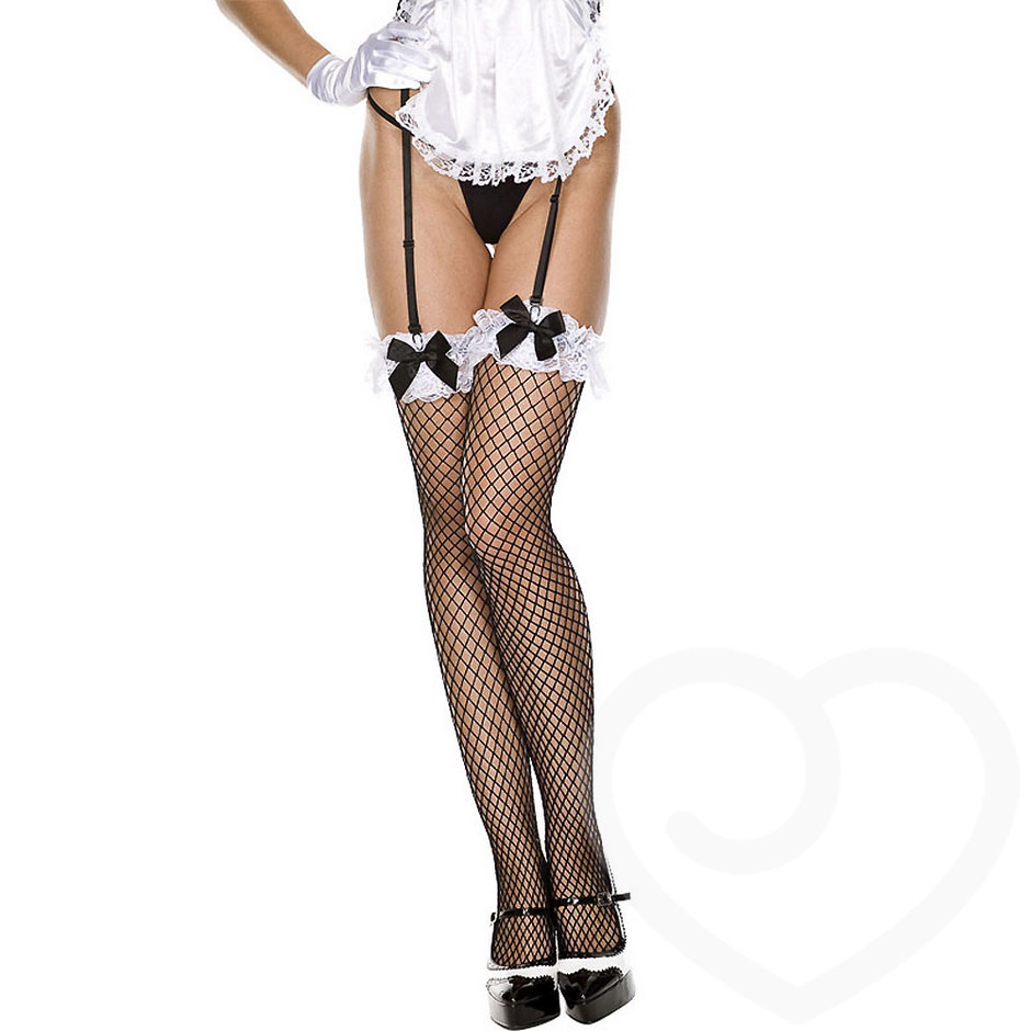 Music Legs French Maid Diamond Fishnet Stockings