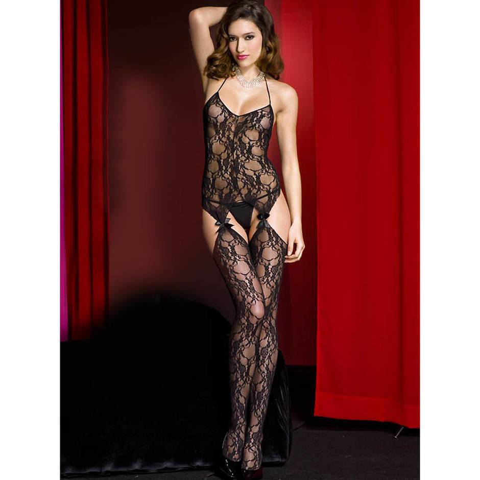 Music Legs Floral Lace Suspender Bodystocking with Bows