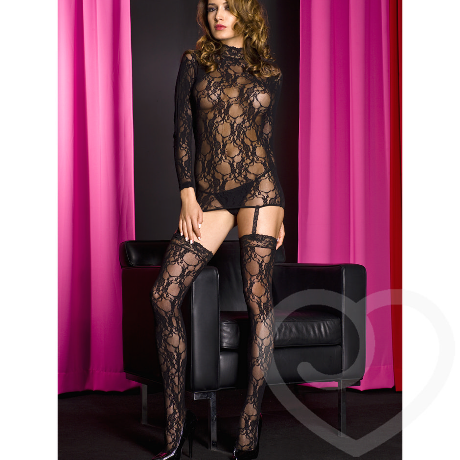 Music Legs All-In-One See Through Lace Bodystocking with Lace Garters