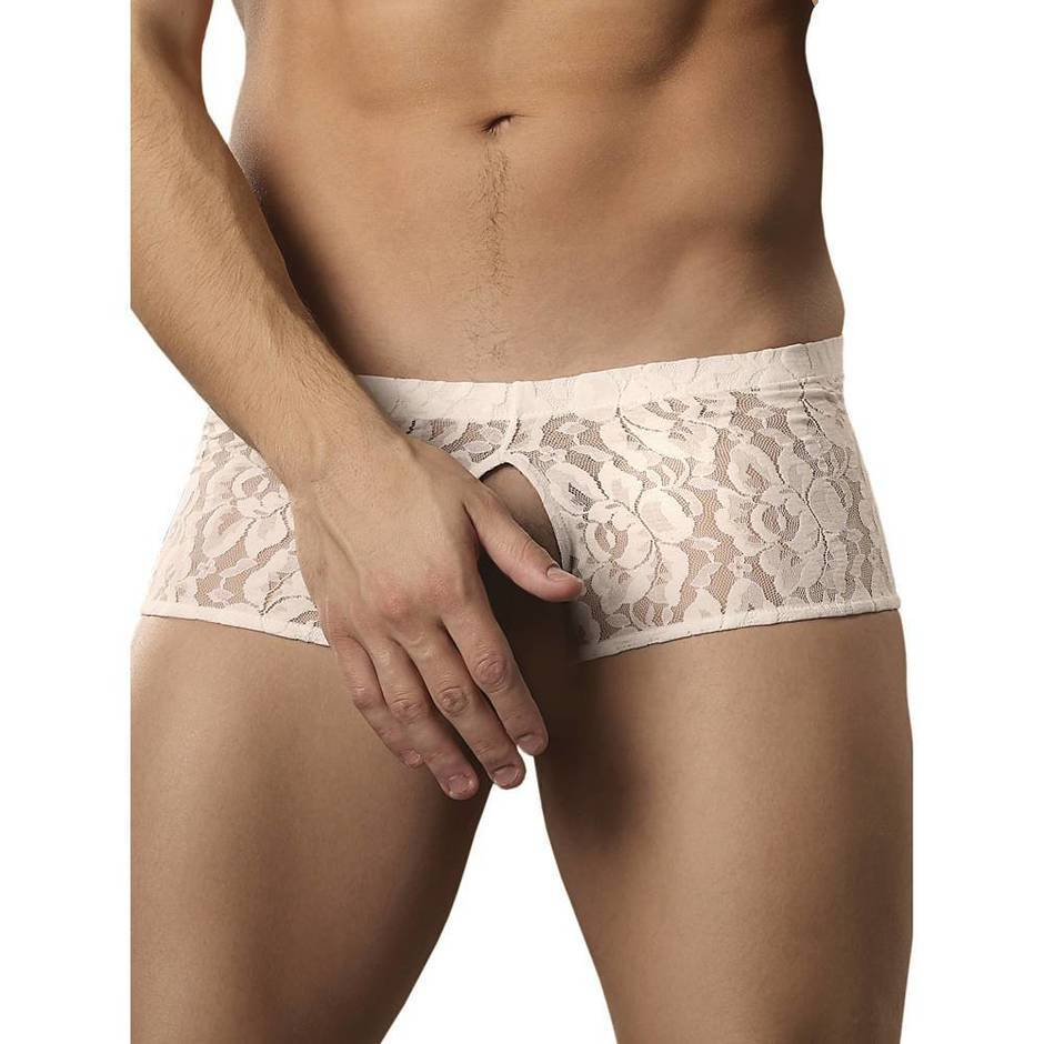 Male Power Stretch Lace Cut-Out Boxer Shorts