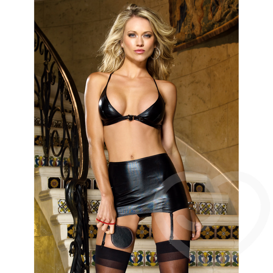 Dreamgirl Wet Look Bra and Skirt Spanking Set