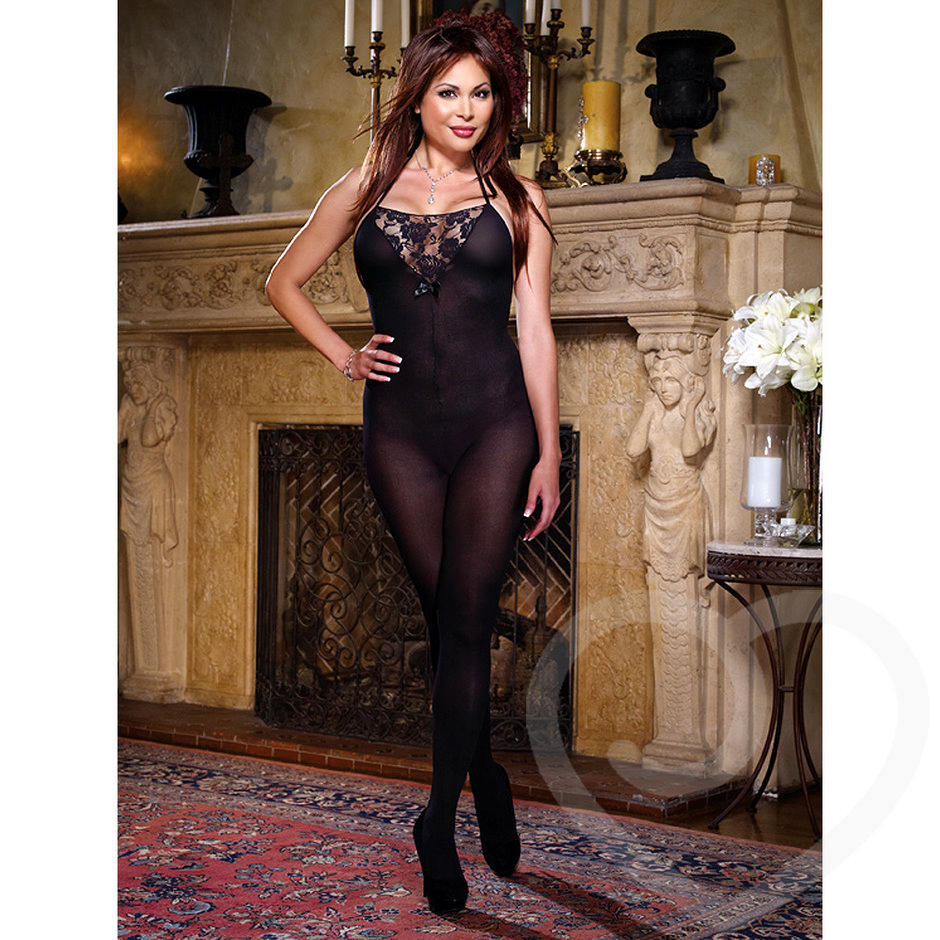 Dreamgirl Plus Size Palermo Lace Halter Neck Crotchless Bodystocking