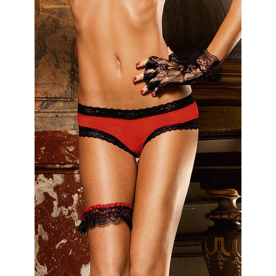 Baci Lingerie Microfibre Boyshorts with Lace Trim Red