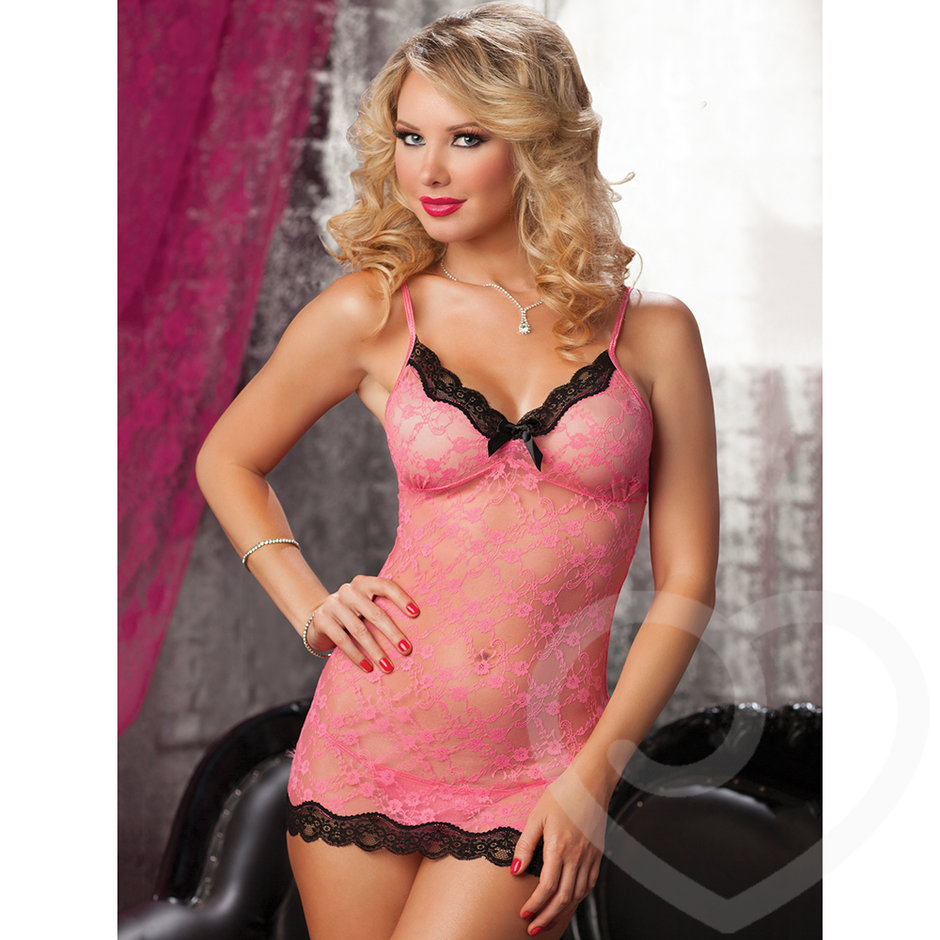 Seven Til Midnight Sexy Lace Chemise and Thong Set