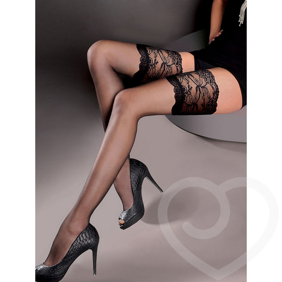 Gabriella Sheer Hold Up Stockings with Lace Tops