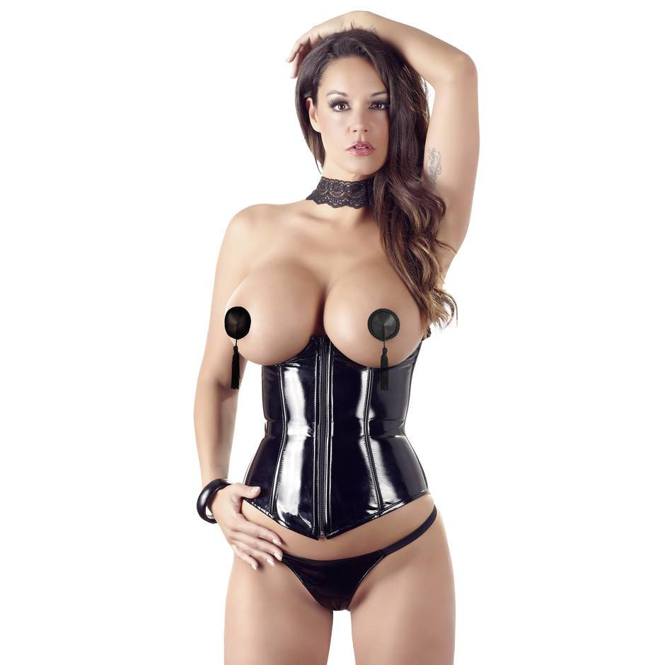 Corset ouvert et string en PVC par Black Level