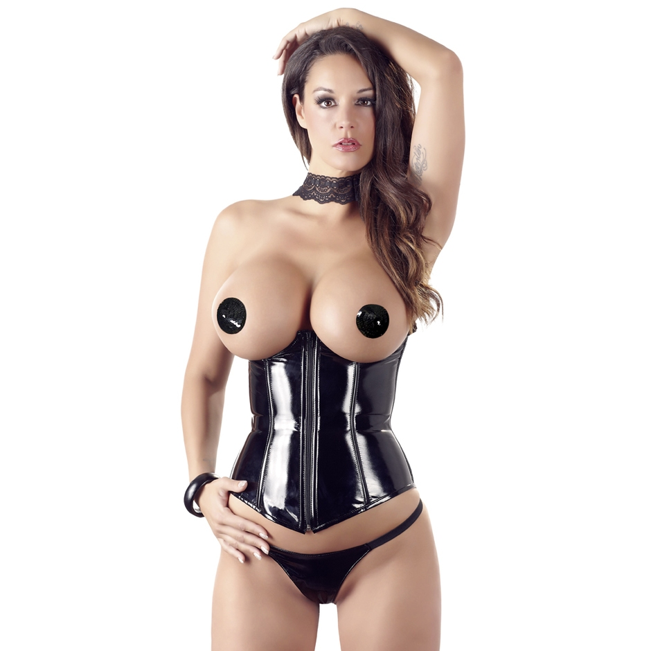 Corset sans bonnets string ficelle PVC, Black Level