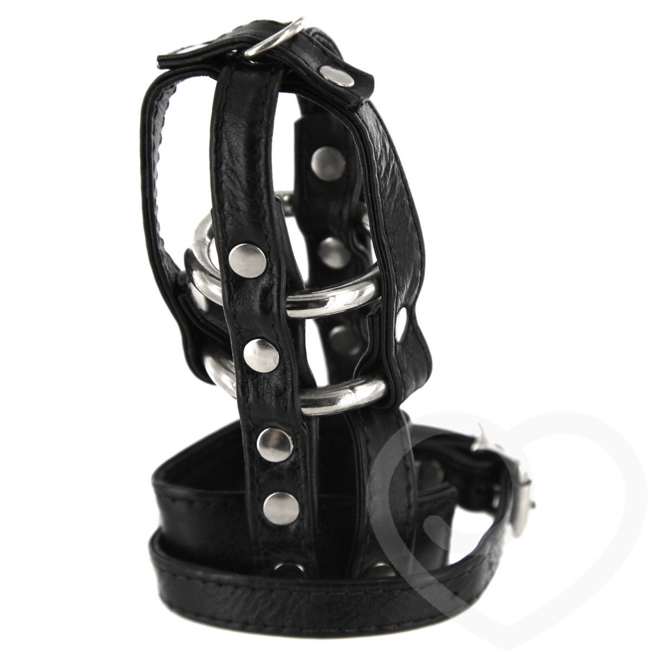 Leather Locking Male Chastity Cage Device