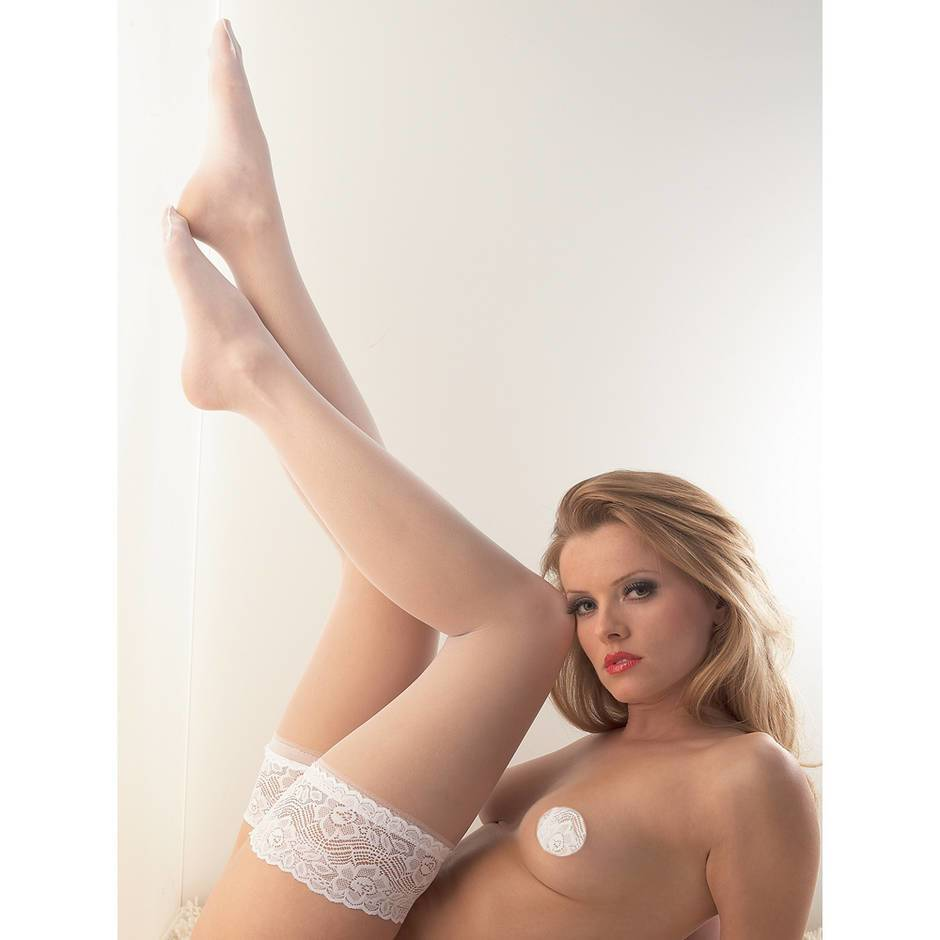 Cottelli Bridal Lace Top Sheer Thigh Highs