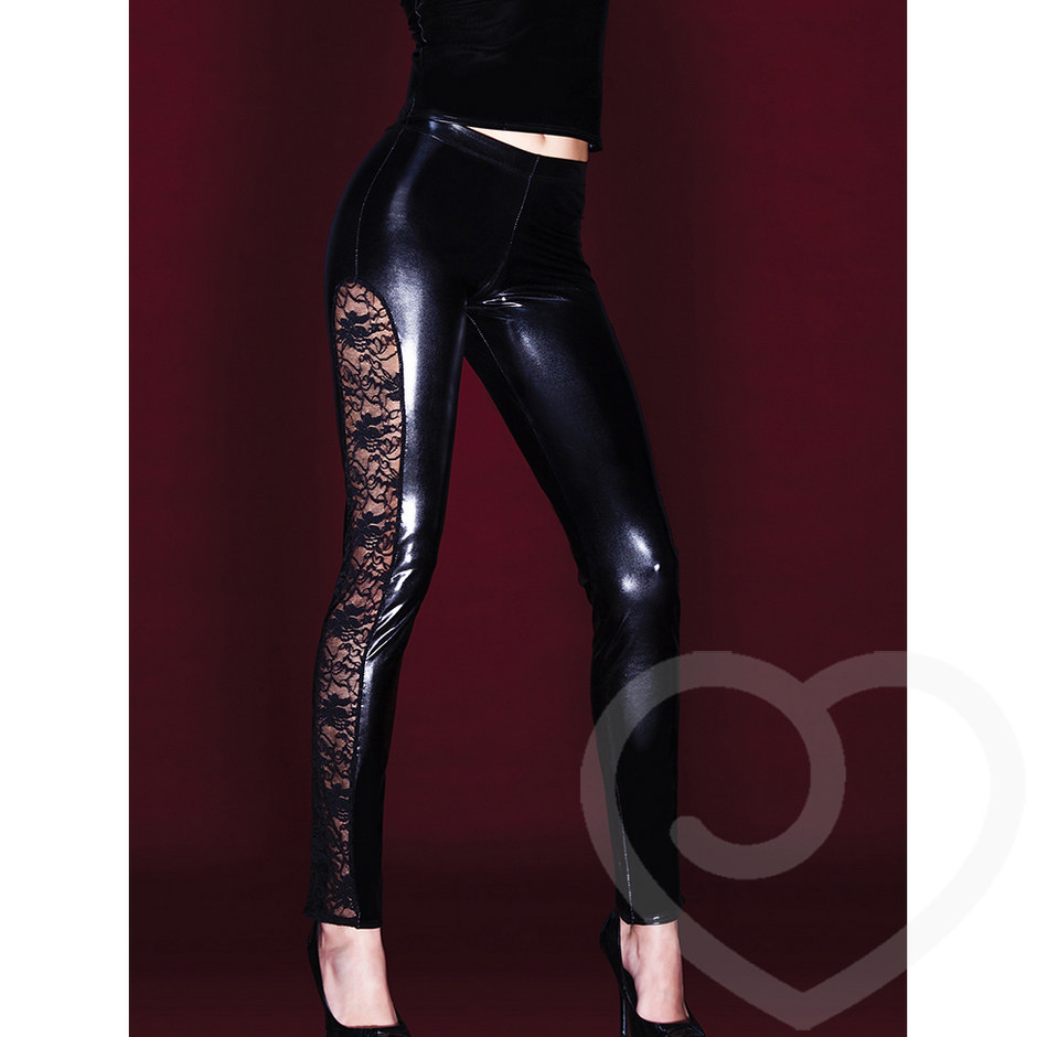 Coquette Darque Wet Look Leggings with Stretch Lace Side