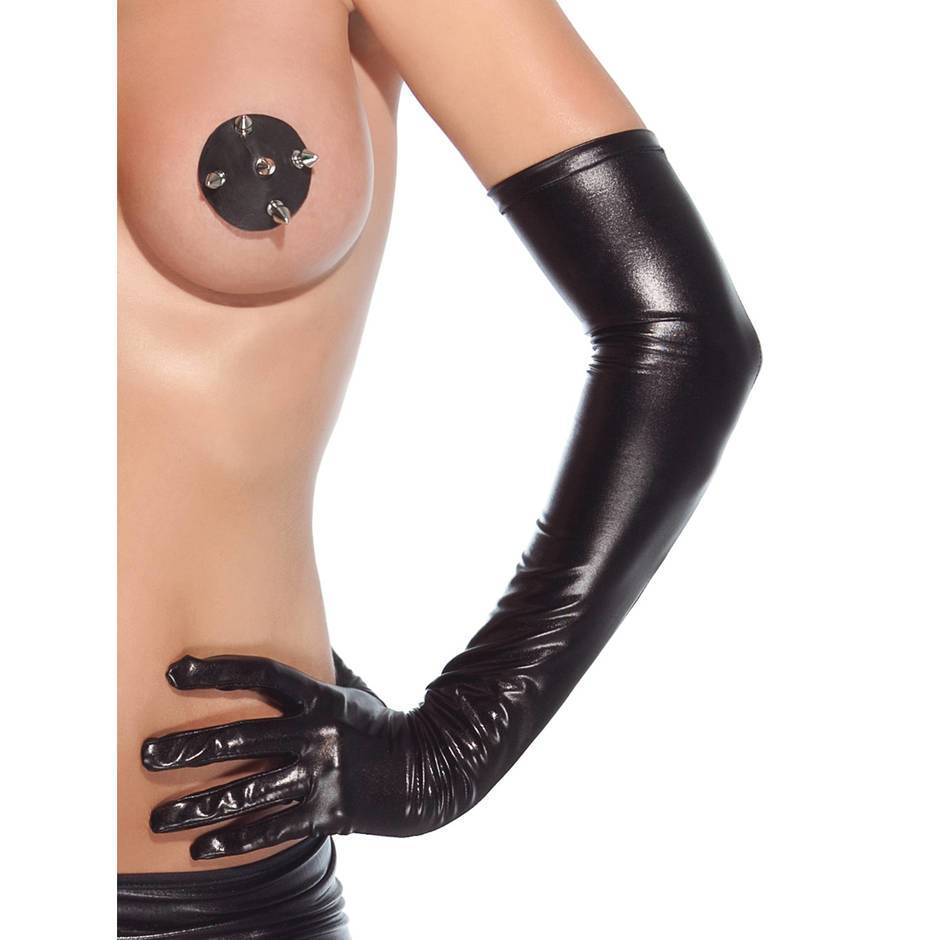 Coquette Darque Wet Look Full Length Gloves