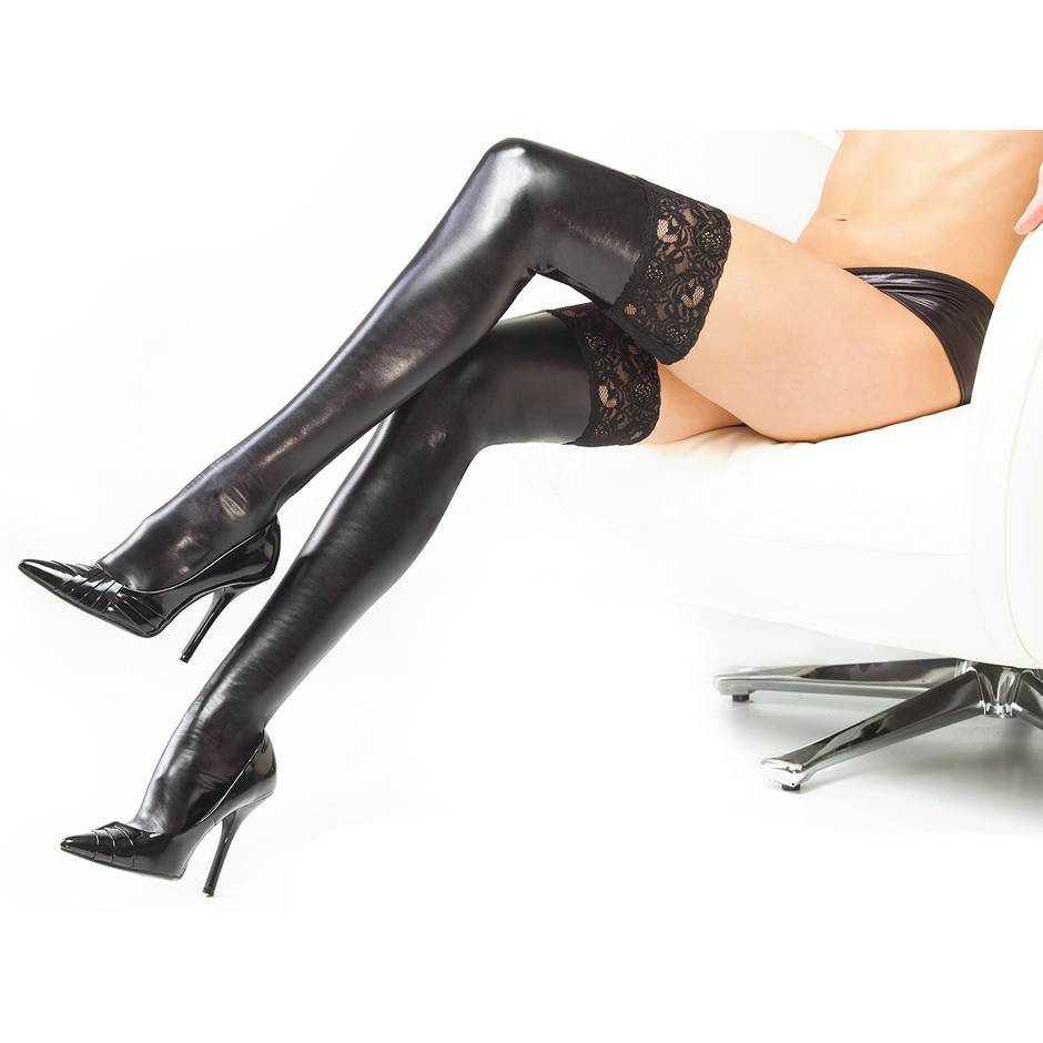 Coquette Darque Wet Look Hold Ups with Lace Tops