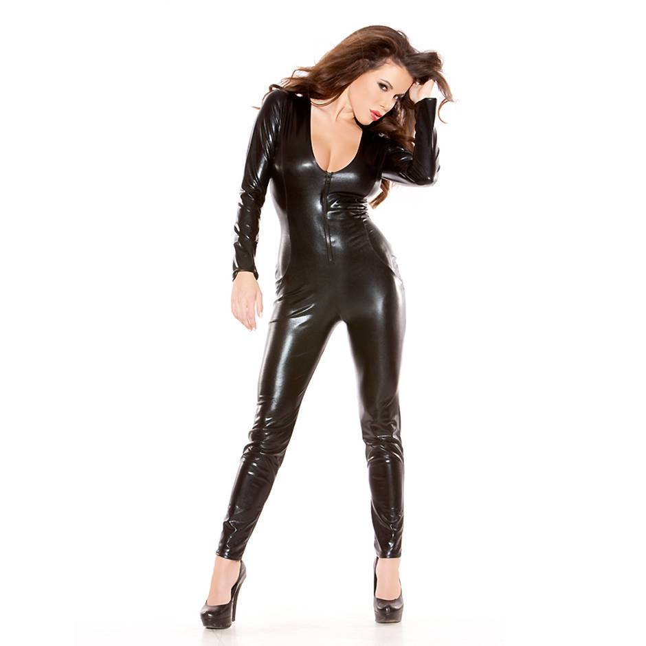 Kitten by Allure Fetishwear Wet Look Catsuit with Front Zipper