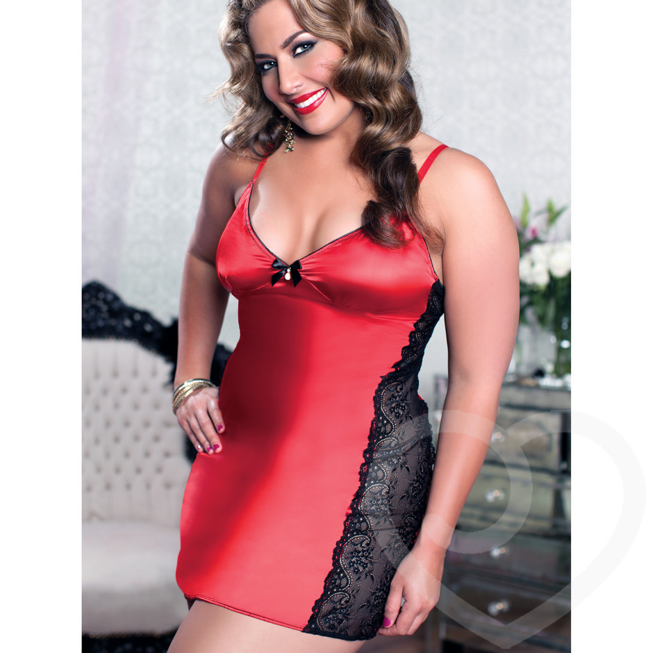 Seven Til Midnight Plus Size Simply Stunning Lace and Satin Chemise