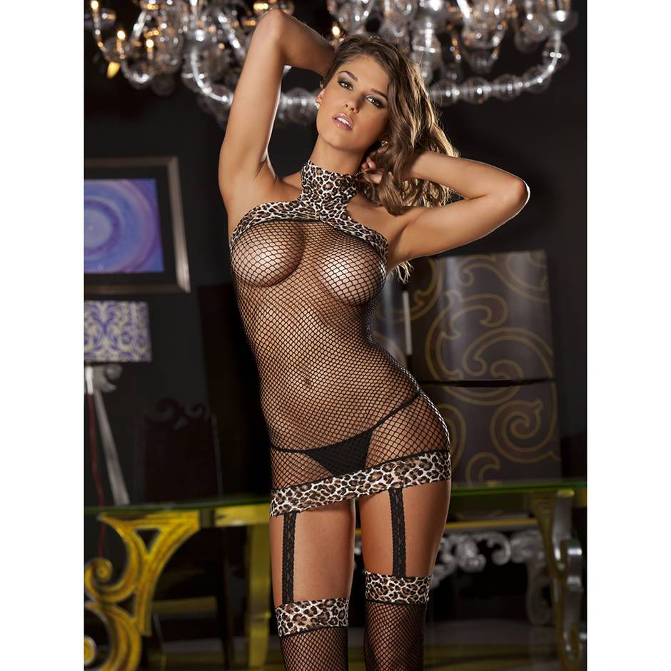 Rene Rofe Fishnet and Leopard Print Dress with Stockings