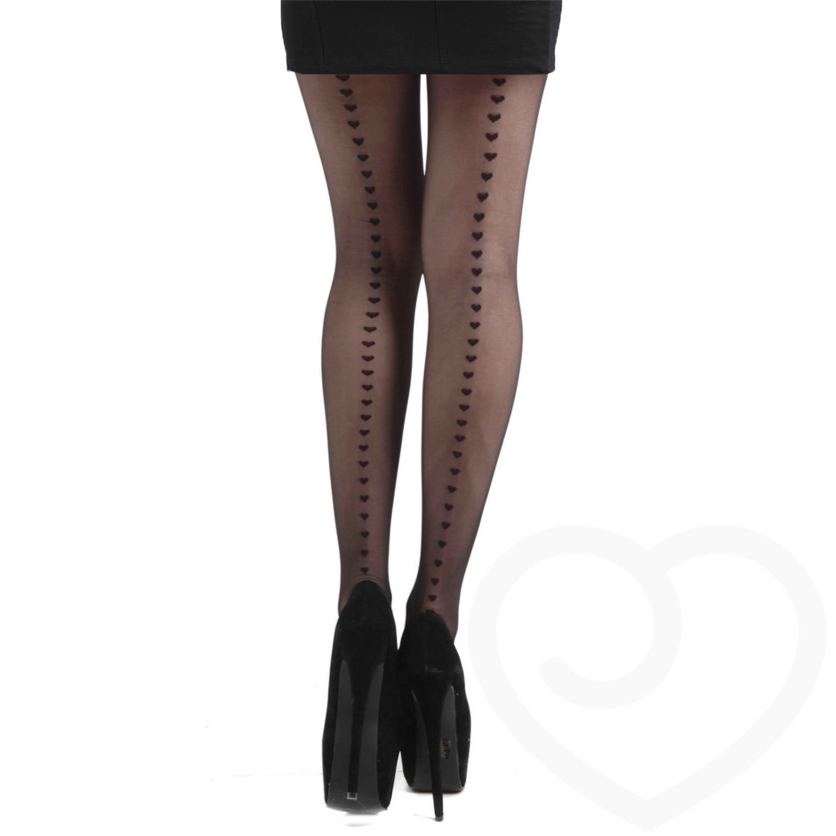 Pamela Mann Tights with Heart Pattern Back Seam