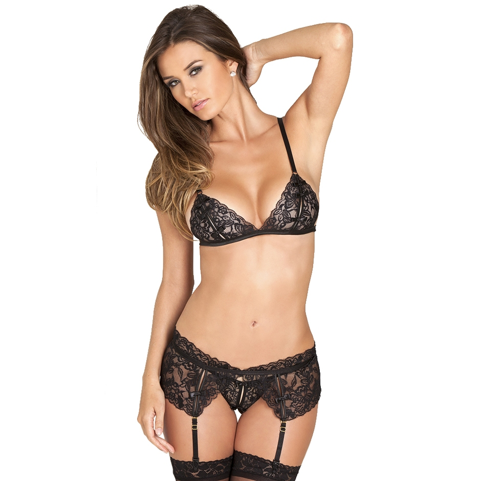 Rene Rofe Peek-a-Boo Bra and Crotchless G-String Set