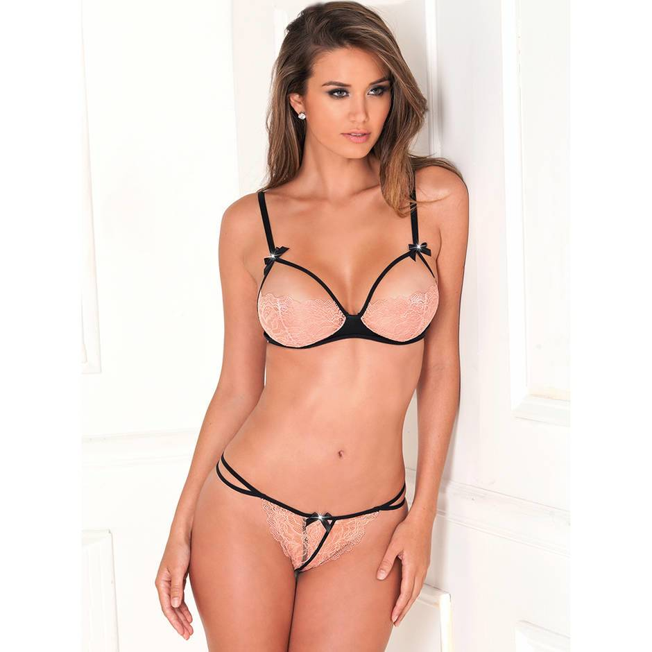 Rene Rofe Revealing Lace Bra and Crotchless Thong Set