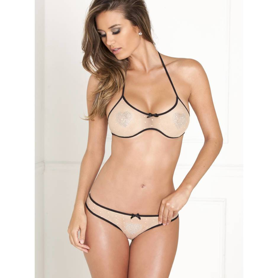 Rene Rofe Diamante Heart See Through Bra and Knicker Set