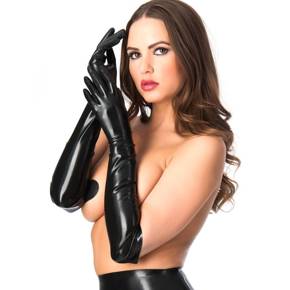 Rubber Girl lange Latex-Handschuhe