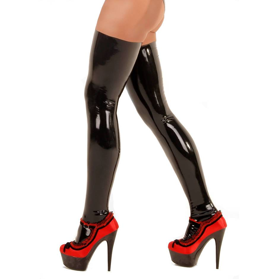 Latex stockings and heels