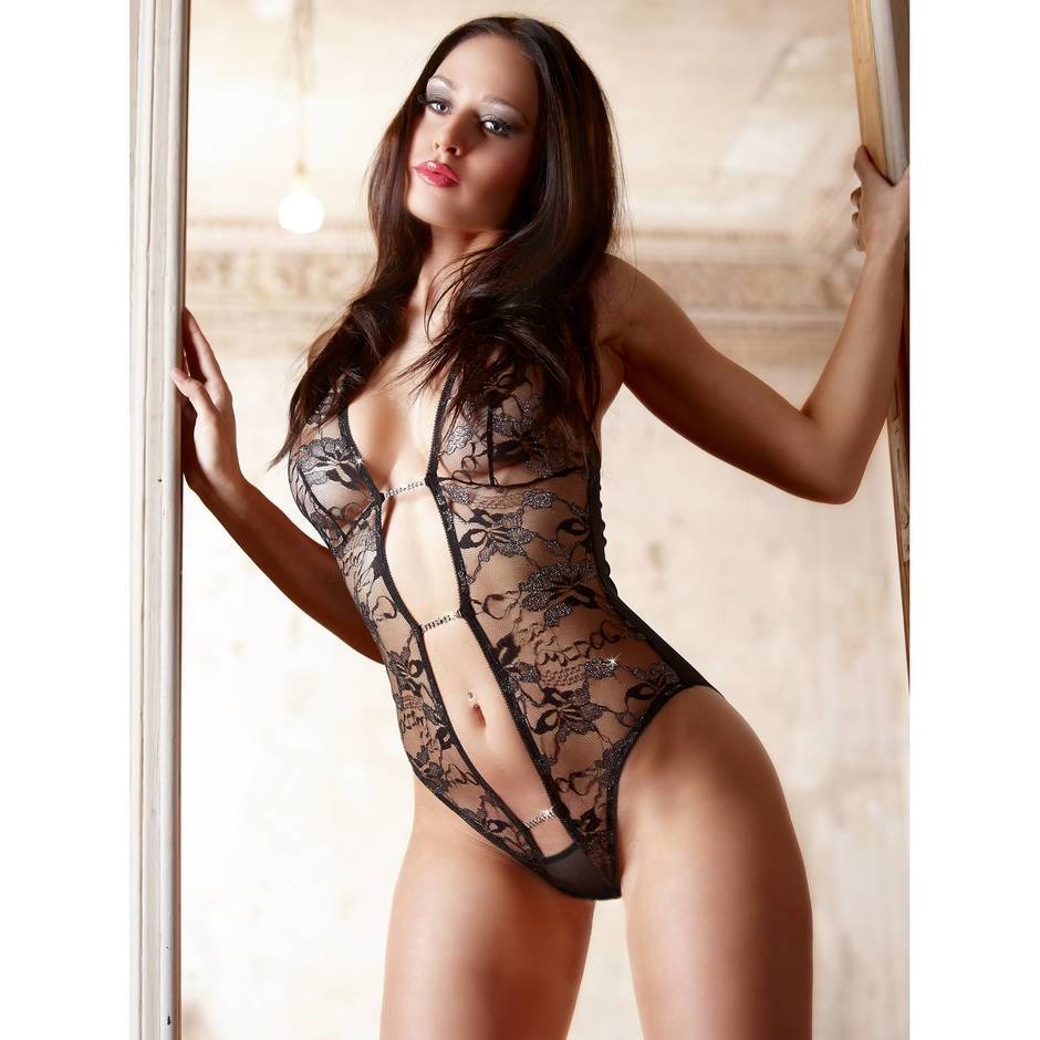 Cottelli Embroidered Diamanté Sheer Lace Crotchless Teddy