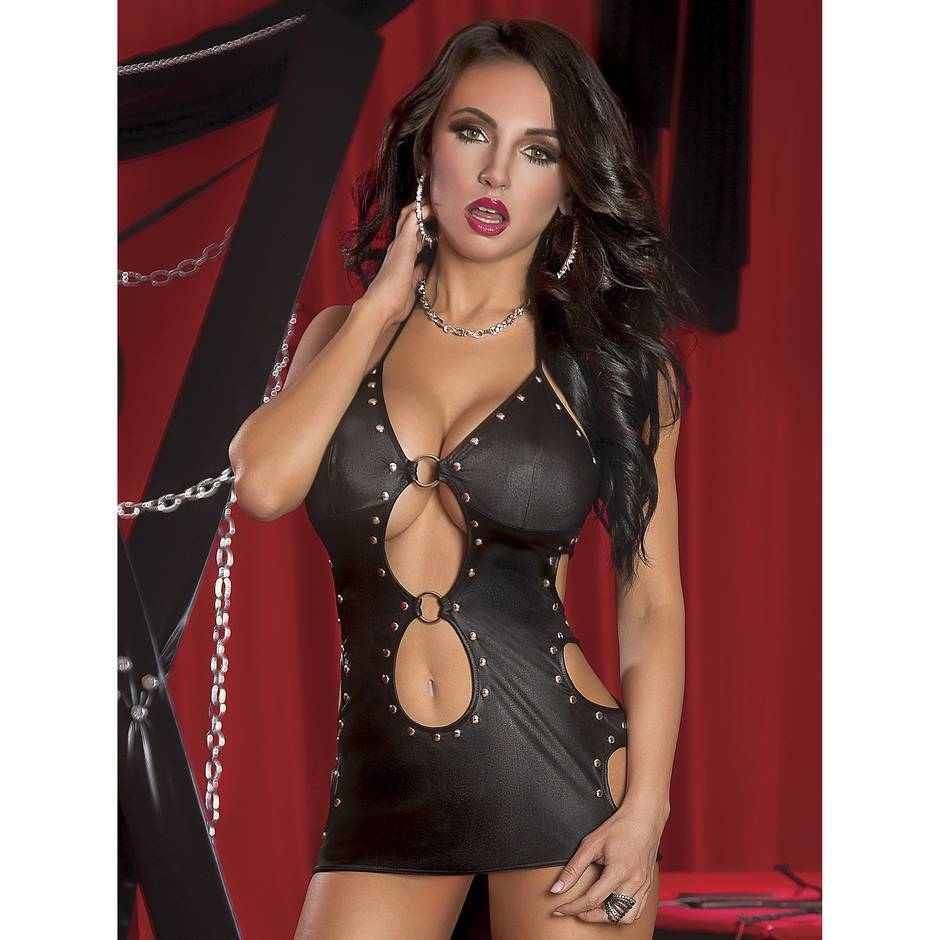 Lust Selene Fetish Wet Look Dress and G-String