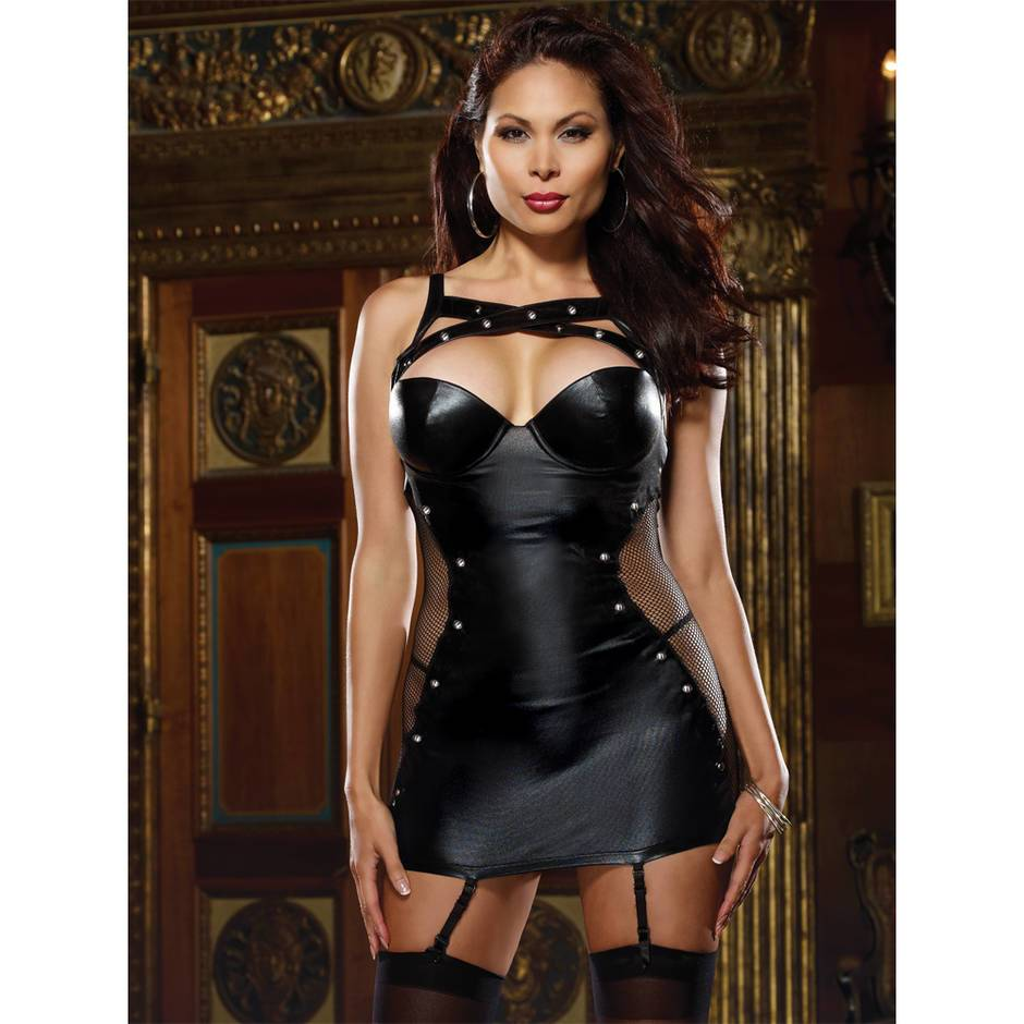 Dreamgirl Plus Size Wet Look Garter Dress with Fishnet Panels