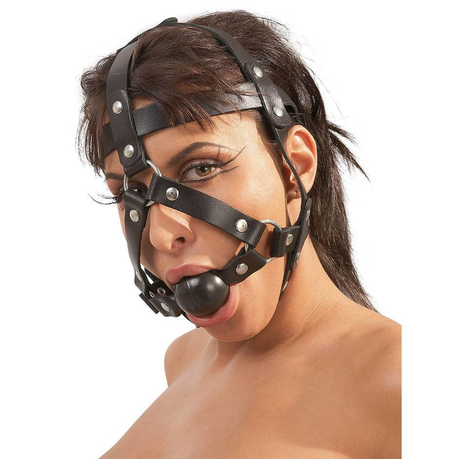 Zado Leather Head Harness and Medium Ball Gag