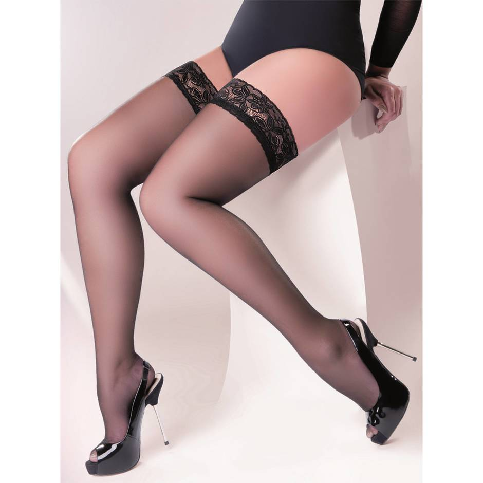 Gabriella Plus Size Lace Top Sheer Hold Up Stockings