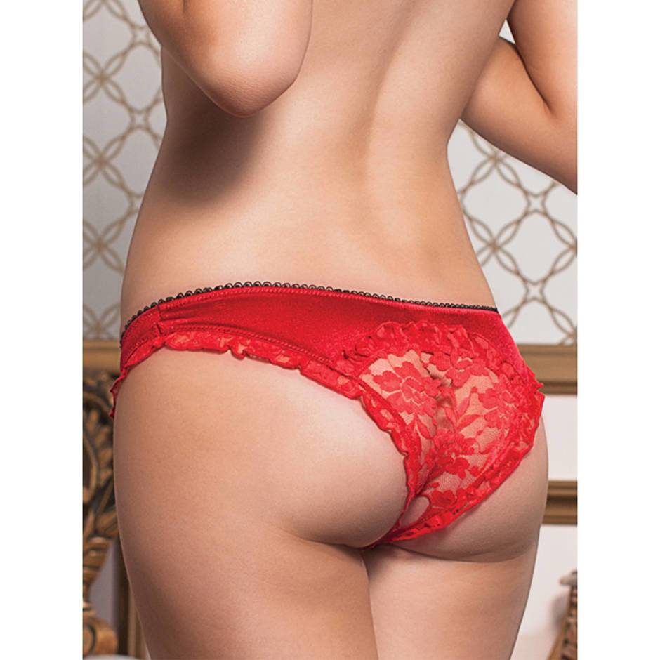 Seven 'til Midnight Crotchless Satin and Lace Panties