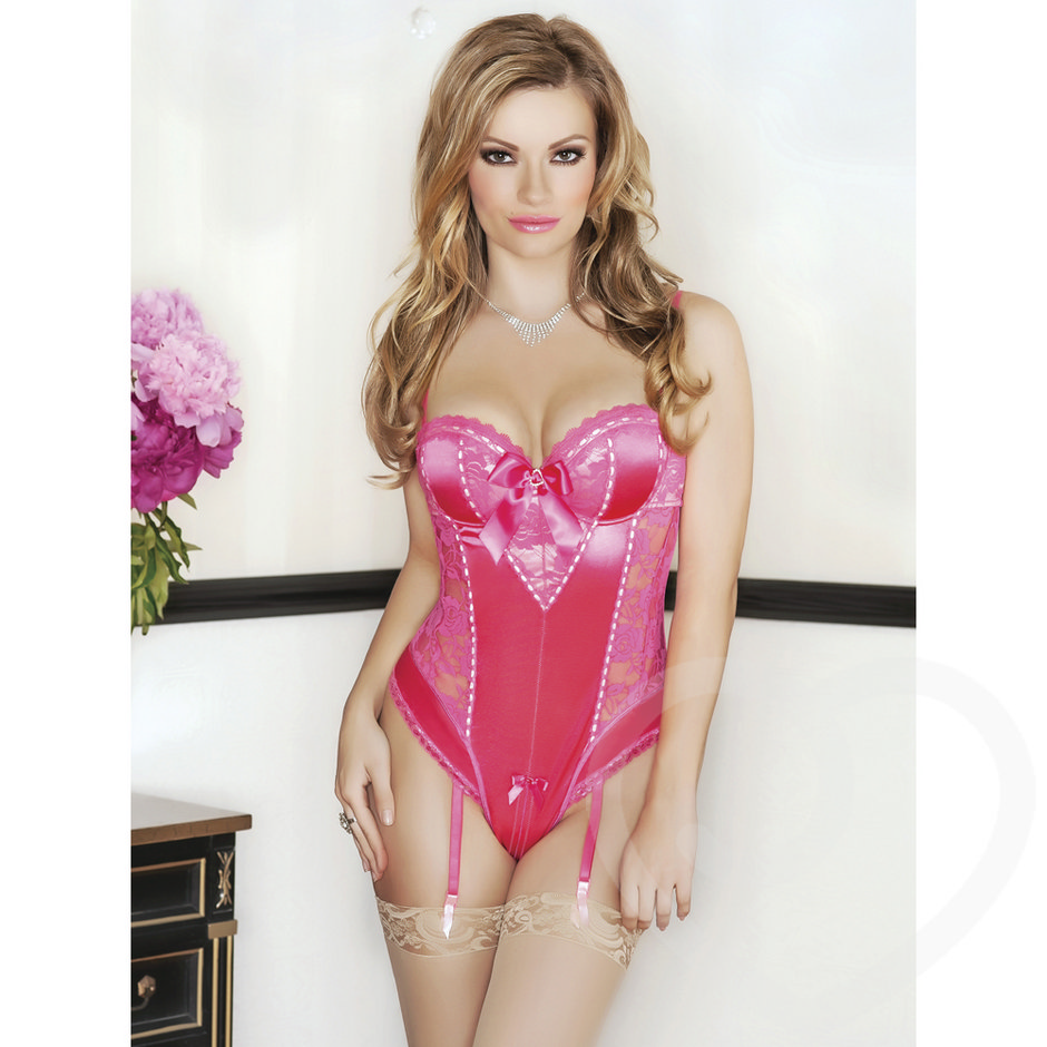 iCollection Satin and Lace Teddy with Suspenders