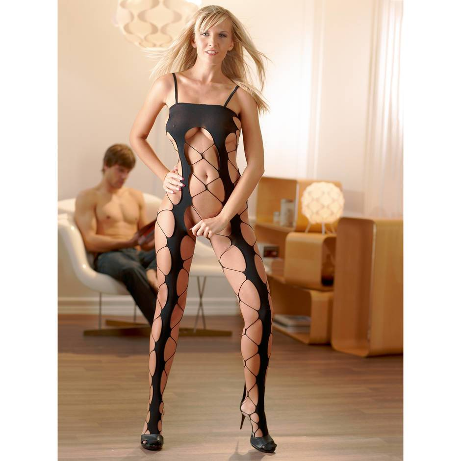 Mandy Mystery Wide Net Crotchless Catsuit