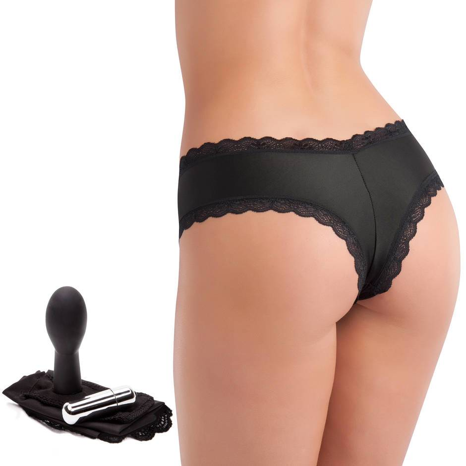 Love Rider Black Vibrating Knickers with 3 Inch Dildo