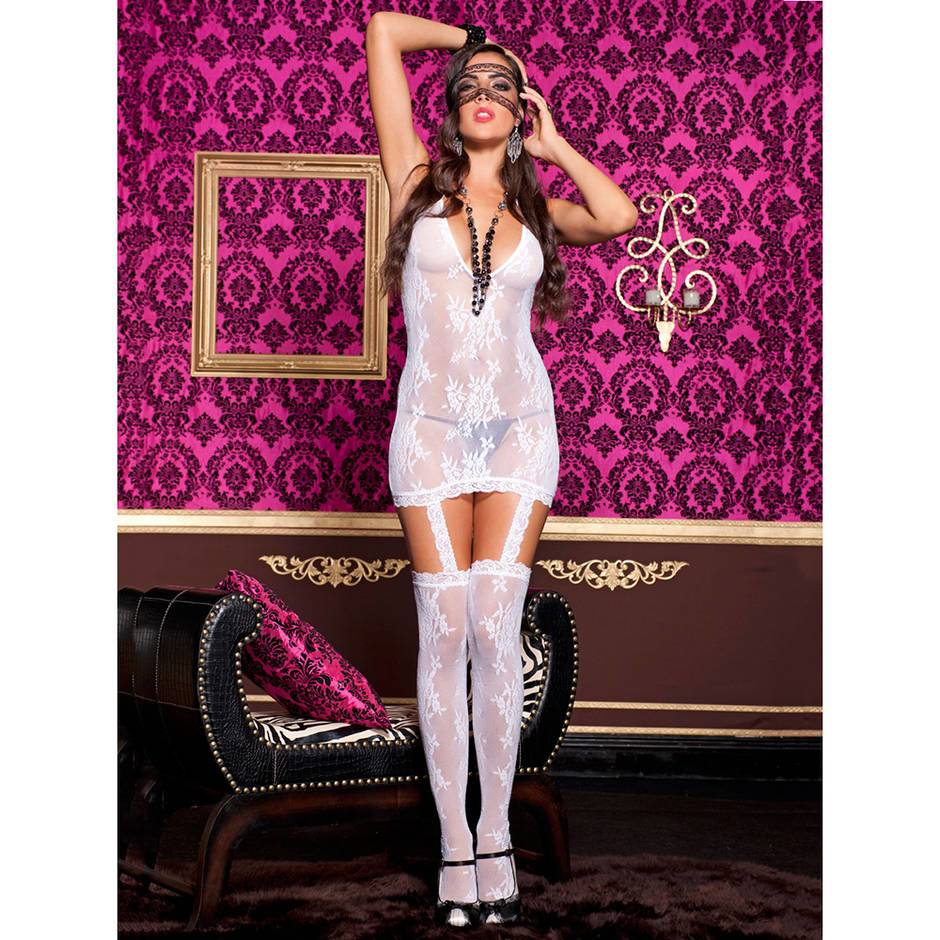 Music Legs Floral Lace Garter Dress and Stockings