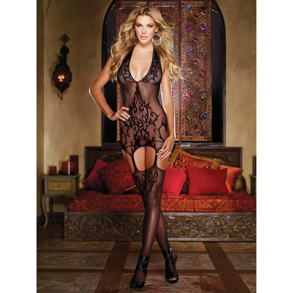Dreamgirl Black Diamond transparenter Bodystocking mit Strapsen